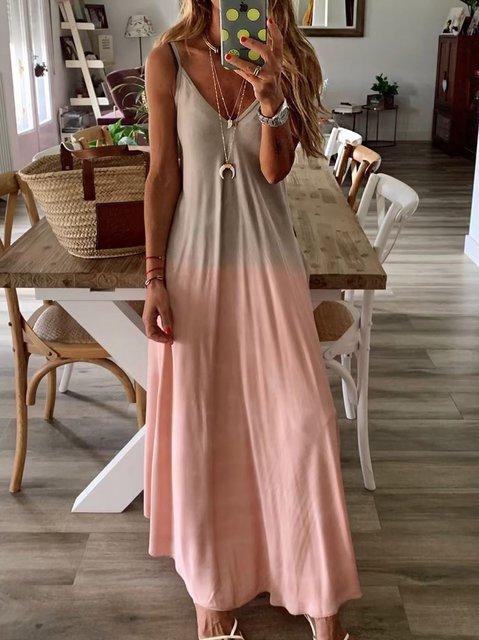 Gray V Neck Sleeveless Cotton Dresses
