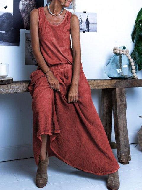 Round Neck Cotton Solid Sleeveless Dresses