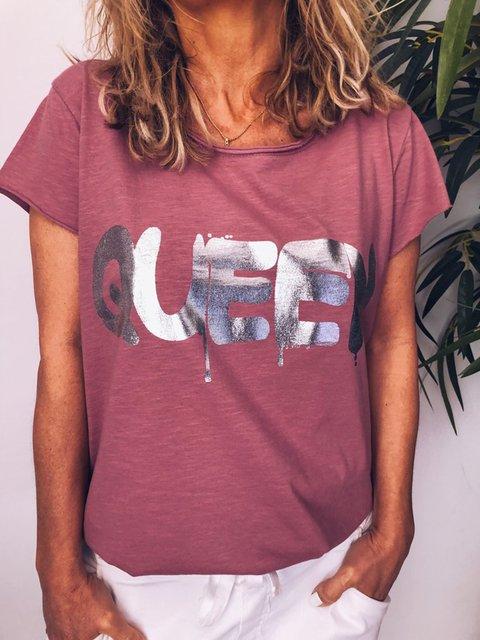 Letter Casual Women T-shirt