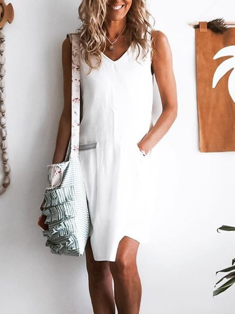 Cotton Loose Solid sleeveless Casual dress