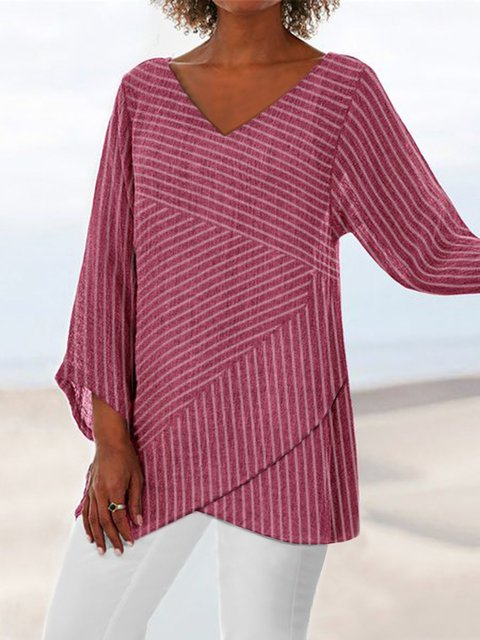 Striped Casual Slit Long Sleeve Blouses