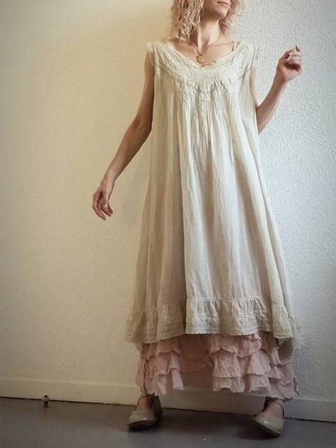 Patchwork V Neck Casual Dresses