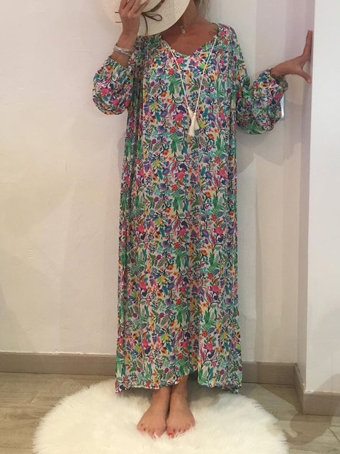 Crew Neck Printed Women Dresses Going Out Floral Casual Cotton Dresses