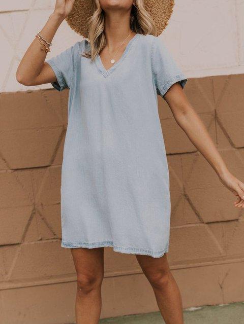 Cotton-Blend Casual V Neck Short Sleeve Dresses