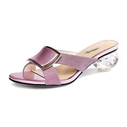 Shiny Open Toe Special Heel Slide Sandals