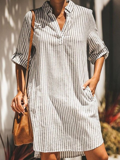 Plus Size Stripes Pockets Women Mini Pullover Dresses
