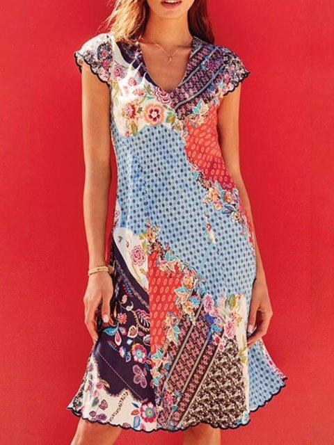 Plus Size Mini Printed Boho Crew Neck Shift Holiday Dresses
