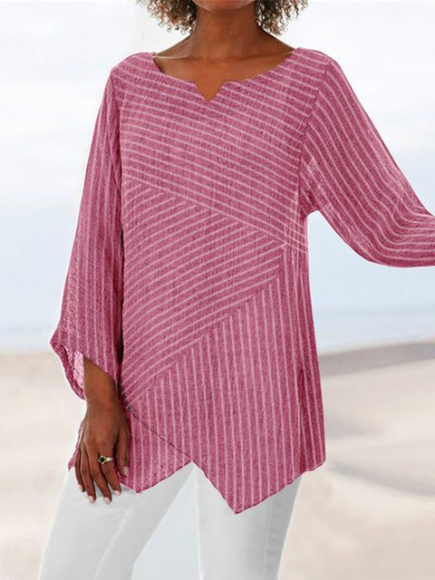 Summer Linen Casual Striped Long Sleeve Blouses