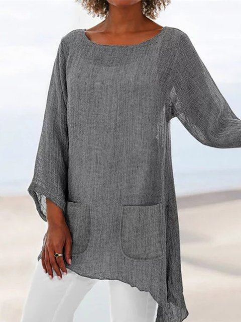 Casual Long Sleeve Crew Neck Linen Pockets Tops