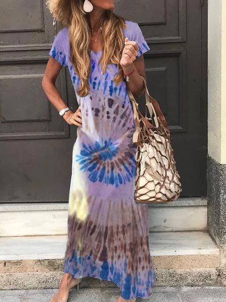 Plus Size Women Short Sleeve  Casual Dresses