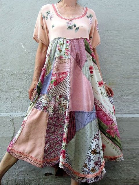 Round Neck Swing Short Sleeve Cotton-Blend Dresses
