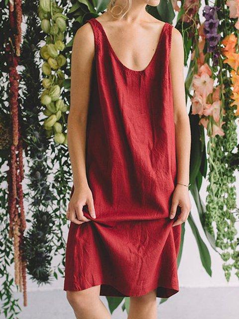 Women's Casual Comfort Cotton Linen Harness Dresses Simple Sleeveless Dress