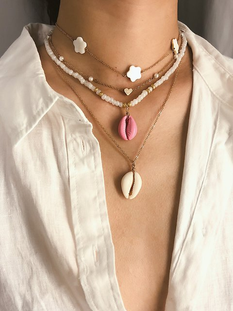 Women Multi-layer Shell Golden Necklaces