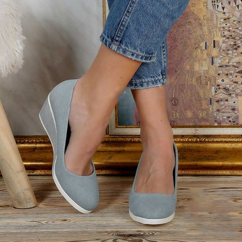Womens Slip On Wedge Heel Loafers Casual Shoes
