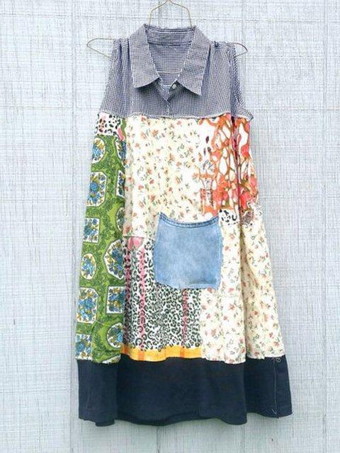Plus Size Women Kaftan Paneled Sleeveless Midi Shirt Dresses
