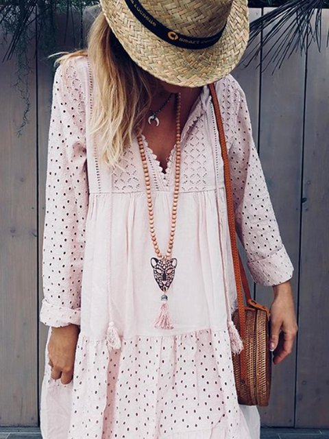 Light Pink Cotton-Blend Long Sleeve Dresses