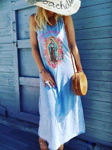 Blue Cotton-Blend Sleeveless Patchwork Dresses