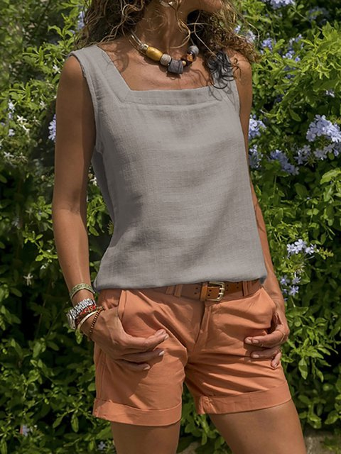Holiday Casual Paneled Crew Neck Sleeveless Tank