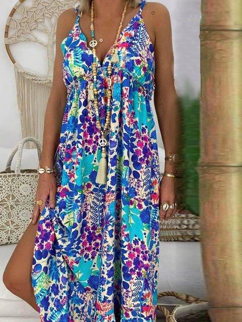 V Neck Women Summer Dresses Shift Floral Dresses