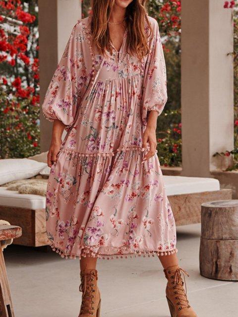 V Neck Women Dresses Going Out Cotton Paneled Vintage Dresses