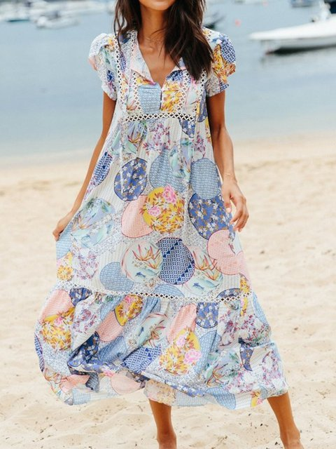 V Neck Women Floral Dresses Going Out Paneled Graphic Dresses