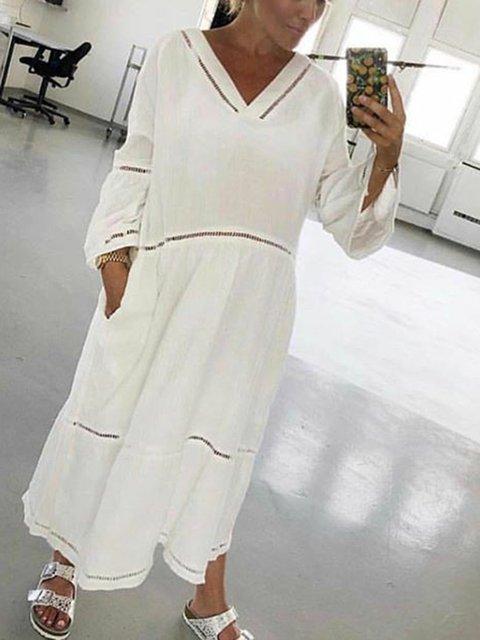 Plus Size Boho Maxi Dresses Women Shift Daily V Neck Paneled Solid ...