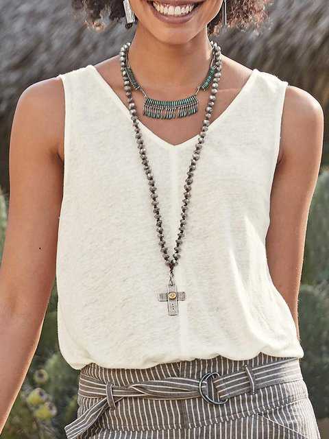 Holiday Cotton Solid Sleeveless Paneled Tank