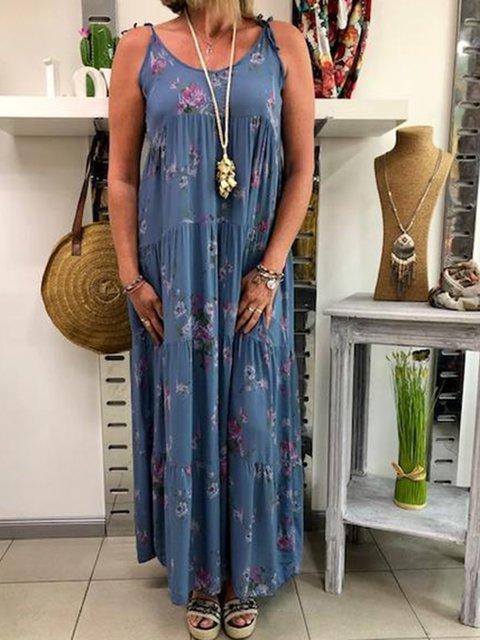 Plus Size Floral Maxi Dresses Women Daily Crew Neck Spaghetti-Strap Boho Dresses