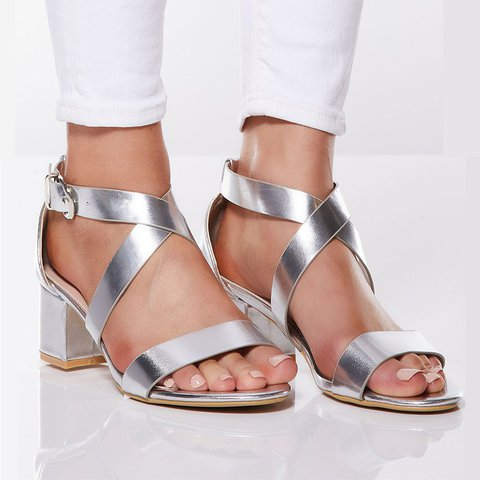 Date Open Toe Middle Heel Summer Sandals