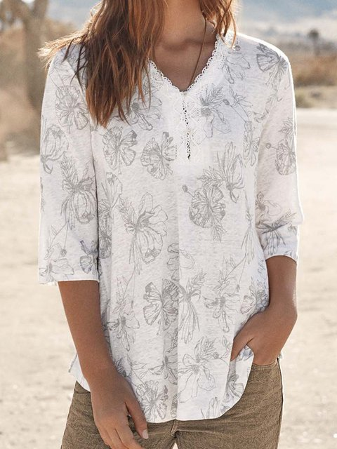 Half Sleeve Guipure Lace Floral Blouses