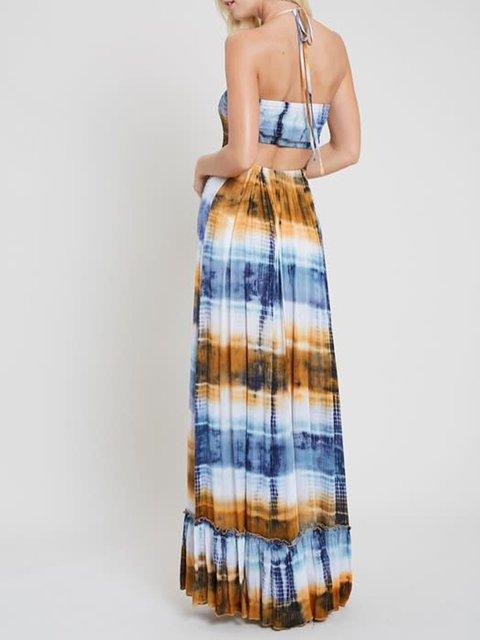 Multicolor Cotton Striped Casual A-Line Dresses