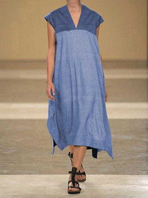 Plus Size Women Caftan V-Neck Sleeveless Midi Dresses