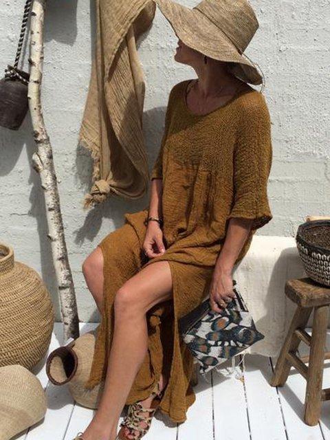 Coffee Half Sleeve V Neck Plain Cotton Dresses
