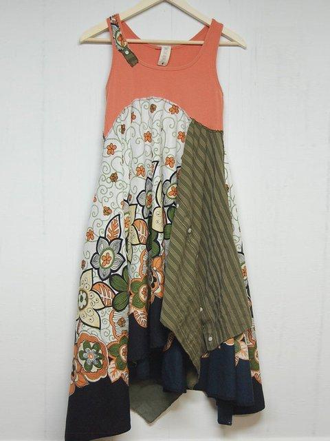 Plus Size Pannel Floral V Neck Shift Boho Cotton Dresses