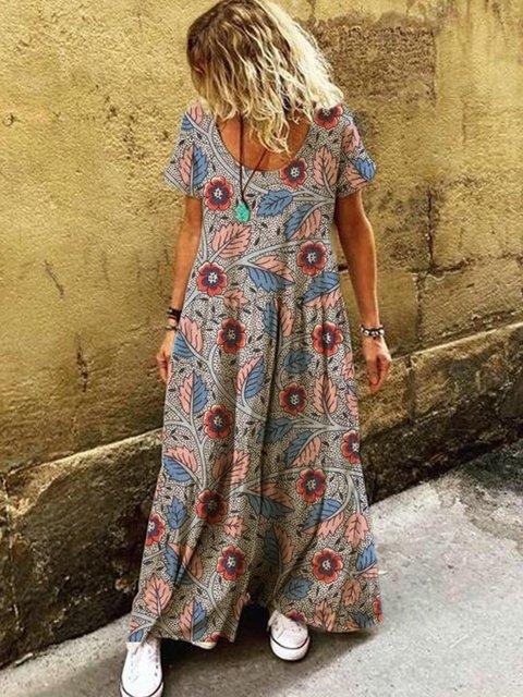 Boho Short Sleeve Round Neck Dresses