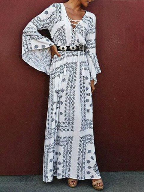 c2f9326f6d Justfashionnow Party Dresses Long Sleeve Sundress Holiday V Neck Boho Printed  Dresses