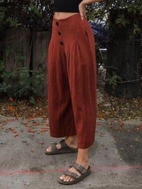 Pockets Cotton Casual Solid Buttoned Pants