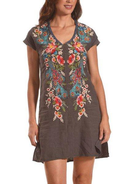 Women V Neck Floral Short Sleeve Shift Dresses