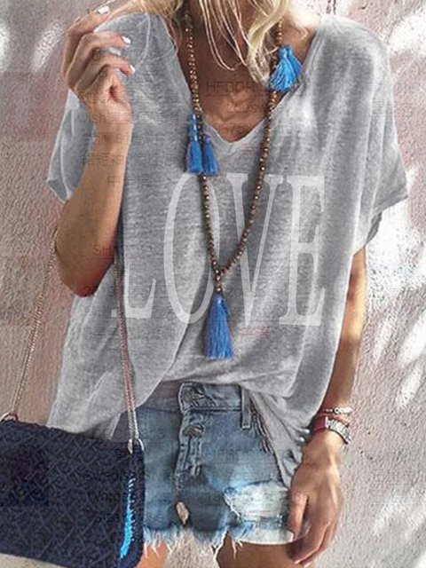 Casual Letter Printed Short Sleeve Shirts & Tops