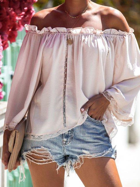 Cream Cotton Off Shoulder Guipure Lace 3/4 Sleeve Sweatshirts & Hoodies