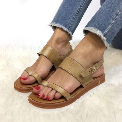 Women's Casual Low Heel Open Toe Buckle Strap Sandals