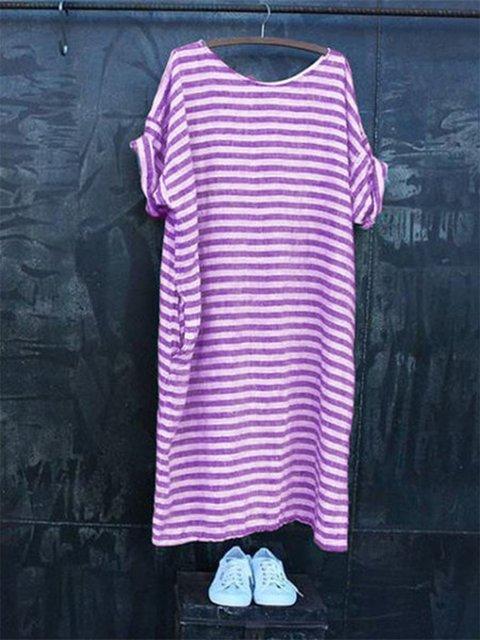 Casual Pockets Short Sleeve Round Neck Dresses