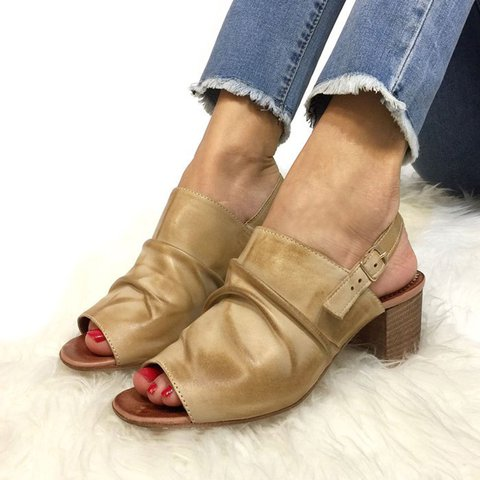 Women's Chunky Heel Open Toe Buckle Strap Sandals