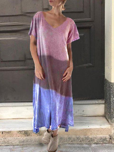 Short Sleeve Casual Cotton-Blend Plain Dresses