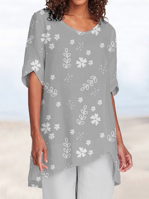 Plus Size Round Neck Short Sleeve Holiday Floral Blouses