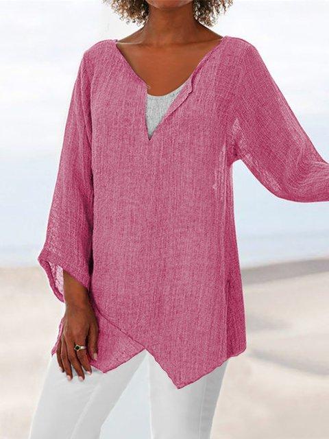 Plus Size Loose Linen Women Summer Blouses