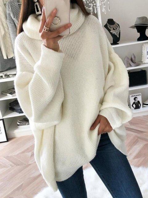 Plus Size Women Sweater Batwing Turtleneck Casual Sweaters