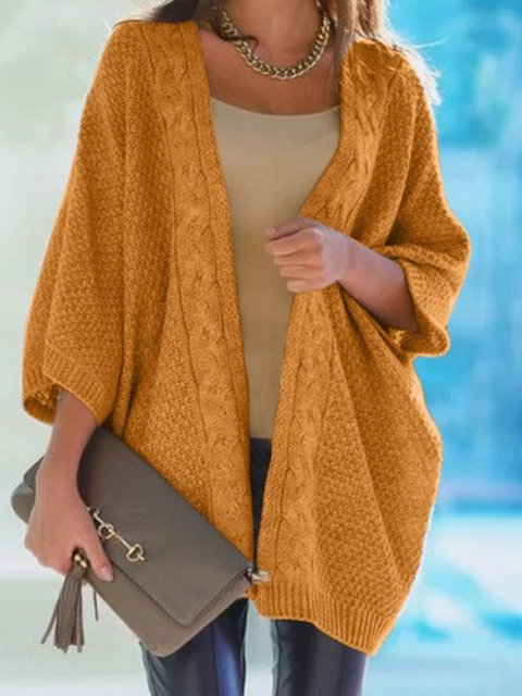 Plus Size Women Outwear Batwing Casual Knitted Cardigans
