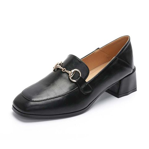 Square Toe Daily Chunky Heel Chain Loafers
