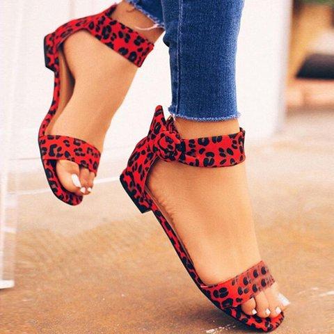 Comfy Leopard Low Heel Zipper Sandals